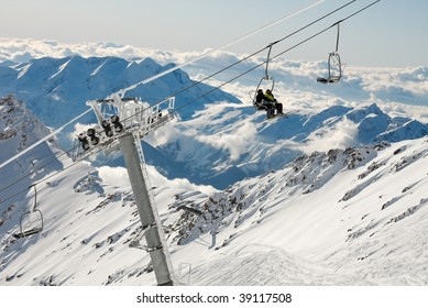 Ski resort in the high mountains with ski lift