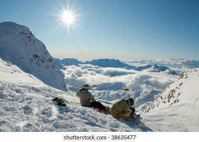 Ski resort in the high mountains in sunny weather