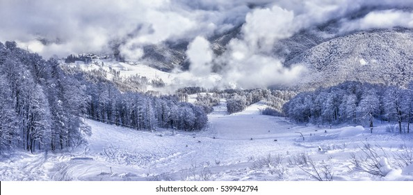 Ski resort Krasnaya Polyana SOCHI is a wonderful place for a family vacation .