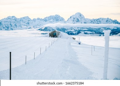 Ski resort Kronplatz in Italian Dolomites during sunny winter day. Europe