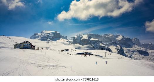 Ski resort Madonna di Campiglio.Panoramic landscape of Dolomite Alps in Madonna di Campiglio. Italy
