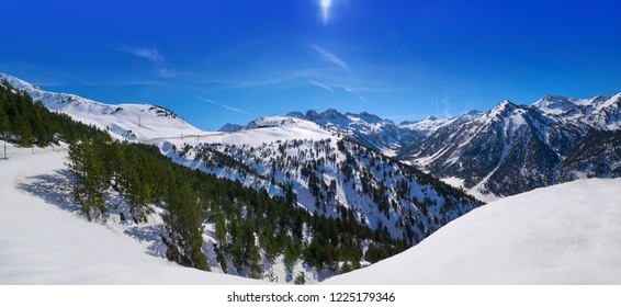 Ski resort on the Aran valley of pyrenees located at the Baqueira village and the Plains of Beret in Lerida Catalonia