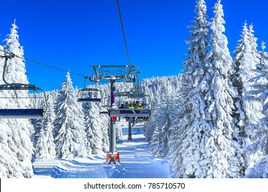 ski resort, Serbia, slope, people on the ski lift, skiers on the piste among white snow pine trees