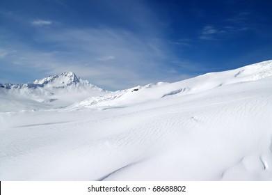 Ski resort. Slope of Elbrus