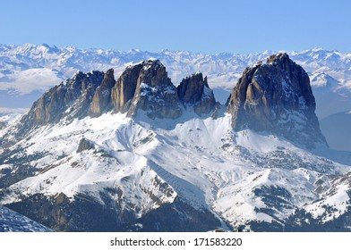 Ski resort in a snow covered mountain. Dolomites, Italy