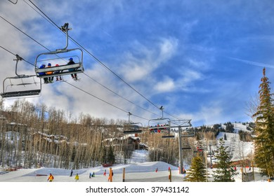 Ski resort in Snowmass near Aspen Colorado on a sunny day