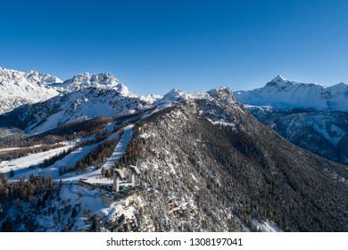 Ski resort in Valmalenco, Snow Eagle cableway. Holidays in Valtellina