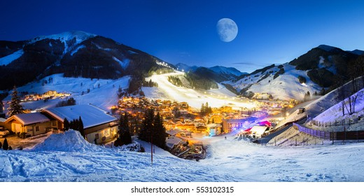 Ski resort village panorama alpine mountains landscape Alps snowboard vacation Saalbach Hinterglemm valley