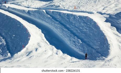 Ski road in Alps