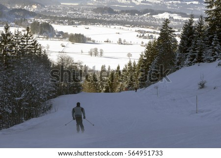 Running Free In Germanys Outdoor >> Ski Run Bavaria Overlooking Town Germany Stock Photo Edit Now