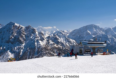 Ski slope and cable car in Dolomites, Italy - Plan de Corones - Kronplatz