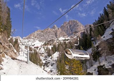 Ski slope and in Dolomites, Italy - Cortina D'Ampezzo