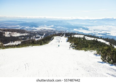 Ski slope in High Tatras mountains. Frosty sunny day