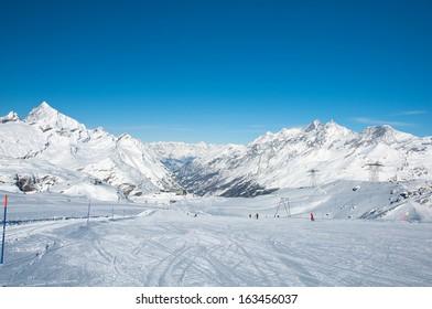Ski slope on the Matterhorn glacier, Zermatt