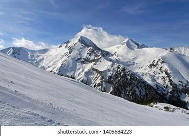 Ski Slope Run With Mountain Peak Bulgaria Winter