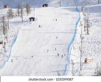 Ski slope at sestriere Italy