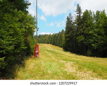 Ski slope in summer