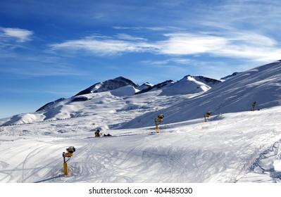 Ski slope at sun morning. Greater Caucasus, Mount Shahdagh. Qusar rayon of Azerbaijan.
