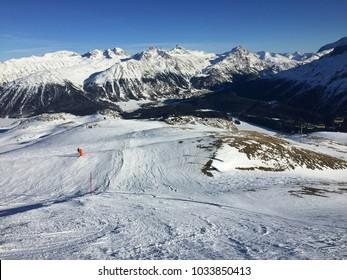 Ski slope in the Swiss Alps near St. Moritz (Switzerland)