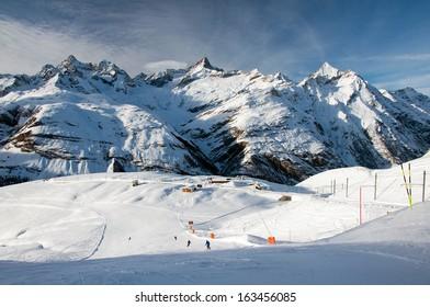Ski slope in swiss Alps, Zermatt