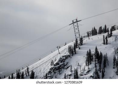 Ski Slopes with Lift Above in Jackson Hole, Wyoming