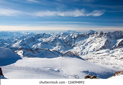 Ski slopes on the Matterhorn, view from the Klein Matterhorn