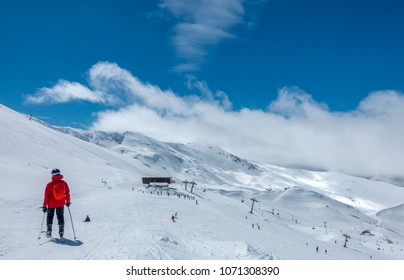 Ski slopes of Pradollano ski resort in Sierra Nevada mountains in Spain