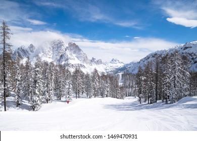 Ski slopes and snow holidays in Cortina d'Ampezzo in the Italian Dolomites, ski resort in the Alps