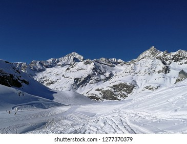 Ski slopes and snow-capped mountains in Zermatt, in canton of Wallis, Switzerland.