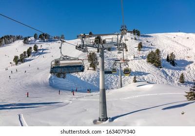 Ski slopes view  in Mayrhofen,   Austria.