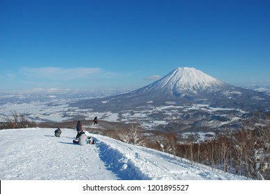 Ski and snowboard area travel destination in Niseko Hokkaido Japan,Winter landscape of snow hill Beautiful background
