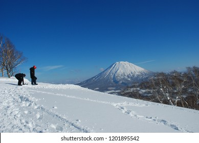 Ski and snowboard area travel destination in Niseko Hokkaido Japan,Winter landscape of snow hill Beautiful background