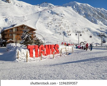 Ski station of Tignes in winter, letters Tignes (TIGNES IS A CITY NAME)