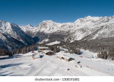 Ski station of Valmalenco. Valtellina, famous destination in the Italian Alps
