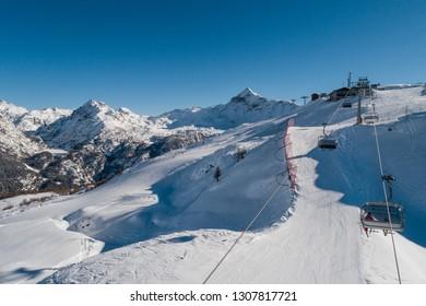 Ski station in Valtellina. Skilift in Valmalenco.