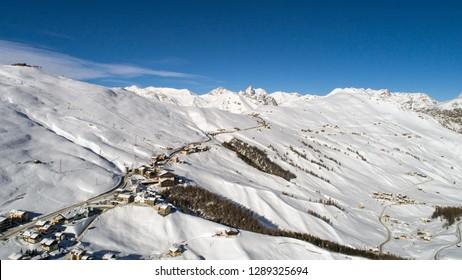 Ski station in Valtellina, village of Trepalle near Livigno.