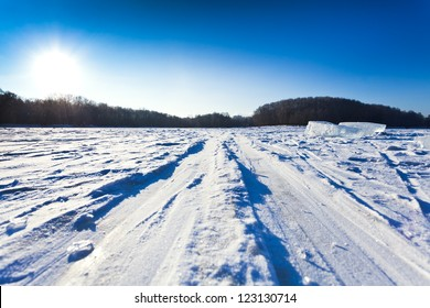 ski track at snow field in cold winter day in Moscow, Russia