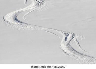 Ski Tracks in the Powder Snwo