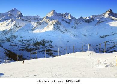 The ski trail at Gornergrat, Switzerland.