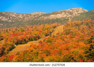 Ski trails at Stowe Mountain Resort during autumn, Stowe Vermont, USA