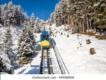 Ski train  in winter resort Davos, Switzerland.
