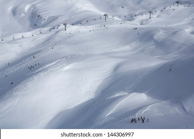 A ski valley covered in snow, Tignes, France