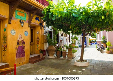 SKIATHOS, GREECE - AUGUST 18, 2017. Winding alleyways and traditional houses, Skiathos Town, Greece, August 18, 2017.