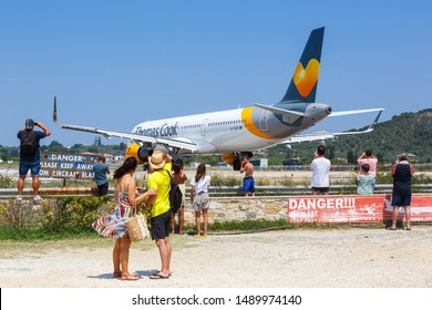 Skiathos, Greece – August 2, 2019: Thomas Cook Airbus A321 airplane at Skiathos airport (JSI) in Greece.