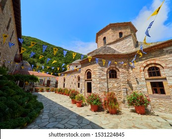 Skiathos, GREECE - AUGUST 3, 2019: Monastery at Skiathos island in Greece