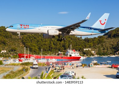 Skiathos, Greece – July 30, 2019: TUI Boeing 757-200 airplane at Skiathos airport (JSI) in Greece.