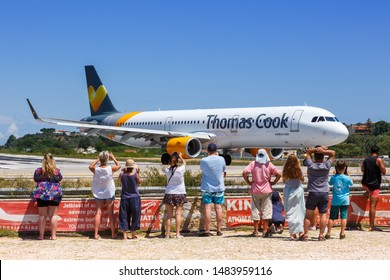Skiathos, Greece – July 30, 2019: Thomas Cook Airlines Scandinavia Airbus A321 airplane at Skiathos airport (JSI) in Greece.