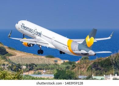 Skiathos, Greece – July 31, 2019: Thomas Cook Airbus A321 airplane at Skiathos airport (JSI) in Greece.