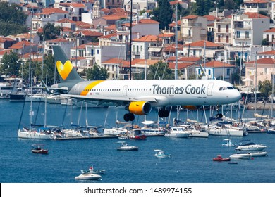 Skiathos, Greece – July 31, 2019: Thomas Cook Airbus A321 at Skiathos airport (JSI) in Greece.