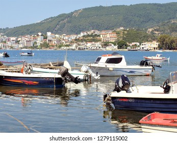 Skiathos, Greece. June 14, 2014. Boats at mooring in the bay at the Picturesque Skiathos town on the Island of Skiathos in Greece.